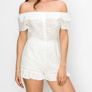 White Off-The-Shoulder Romper